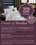 Sheridan Friends & Family 50% off in-Store & Online