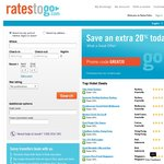 20% off Bookings at RatesToGo.com until 8/9. Valid for Bookings up to 30/6/2014