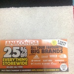 25% off Everything Storewide Including Sale Items @ Anaconda Thurs 21/11 to Mon 25/11/13