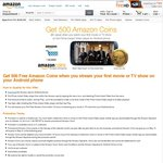 Get 500 Free Amazon Coins When You Stream Your First Movie or TV Show on Your Android Phone