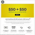 ME Bank - Free $50 with Referral Signup to an Everyday Transaction Account