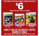 Get 1 $6 Game When You Buy Any $25 Game @ EB Games!