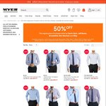 50% off Mens Business Shirts by Calvin Klein, Jeff Banks, Brooksfield, Ben Sherman & Blaq @ Myer - Today Only