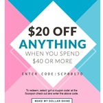 Spend $40 Get $20 off, $15 off No Min Spend or Spend $20 Get $10 off @ Scoopon