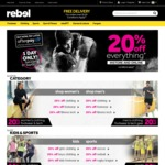 20% off Storewide (In Store & Online) @ rebel (Sat 9/9)