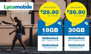 LycaMobile (Telstra 4G) 3 Months: 6GB Plan $19 90 or 10GB