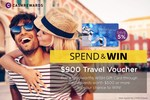 Win a Travel Voucher Worth $900 with Purchase of $500 Woolworths WISH Gift Cards @ Cashrewards (up to 25 Entries)