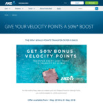 50% Bonus Points Transfer to Velocity: ANZ Rewards