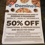 [SA] 50% off Traditional & Premium Pizzas + Selected Sides @ Domino's Pasadena