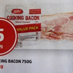 Cooking Bacon 750g $5.00 @ ALDI