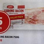 Cooking Bacon 750g $5.00 @ ALDI