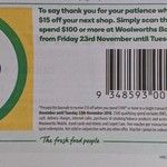 [NSW] $15 off Your Shop When You Spend $100 or More @ Woolworths, Baulkham Hills