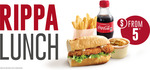 Ripper Lunch: Rippa Roll, 250ml Coke, Small Chips for $5 @ Red Rooster