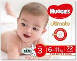 Huggies Ultimate Nappies, Size 3 (6-11kg), 72 Count - $24.00 ($21.60 Prime) + Delivery ($0 with Prime/ $39 Spend) @ Amazon AU