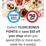 10,000 Bonus Flybuys Points (Worth $50) with $XX Minimum Spend for 4 Weeks @ Coles
