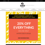 20% off Everything @ Bared Footwear (Online)