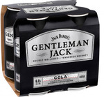 [WA] Gentleman Jack Rare Tennessee Whiskey & Cola 375ml 4pk $14.99 (Was $24.99) @ Liberty Liquors