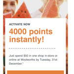 4000-8000 Bonus Woolworths Rewards Points with $50-$150 Spend @ Woolworths