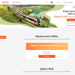 3% off Rail Passes (Including Japan) with Mastercard (Capped at $15USD) @ Klook