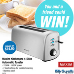 Win 1 of 2 Maxim Kitchenpro 4-Slice Automatic Toasters Worth $74.95 from Billy Guyatts