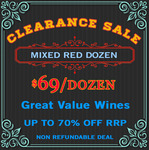 Mixed Red Wines at $69/Dozen ($5.75/Bottle) (Warehouse Clearance) Free Shipping SA & $9 Interstate @ Skye Cellars