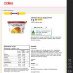 ½ Price Chobani Yoghurt Varieties 170g Pots $1 @ Coles