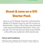 $10 Starter Pack for $2 @ Woolworths Mobile [Excl TAS] (in Store Only, EDR App Activation Required)