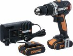 [Prime] WORX WX373 Hammer Drill 20V MAX 13mm Cordless w/ 2X Batteries, Charger & Case $125.73 Delivered @ Amazon AU