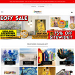 Up to 75% off Sitewide + Extra 15% off with Code @ The Canvas Art Factory