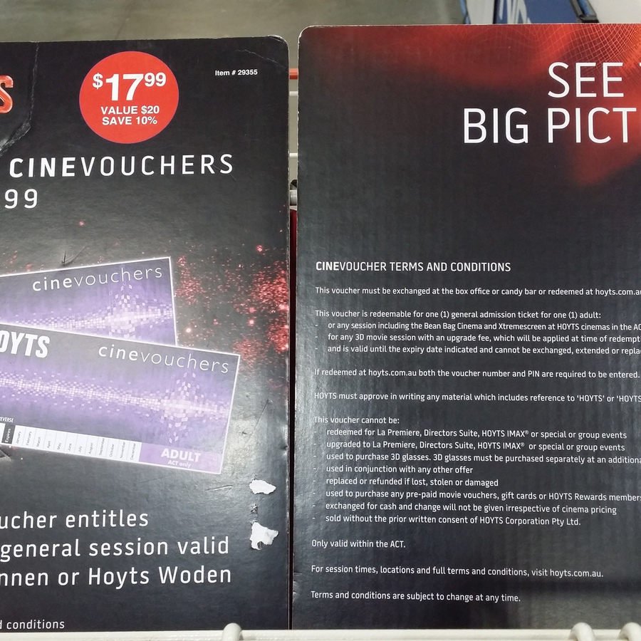 2 Hoyts Cinevouchers 1799 Act Only At Costco Canberra Ozbargain