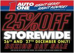 Auto One (WA Stores + Browns Plains QLD) 25% off Store Wide
