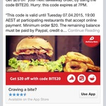 Delivery Hero $20 off Today Only (Min. Order $20)