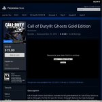 Call of Duty: Ghosts Gold Edition PS4 $19.80USD ($27.11AUD Approx) from US PSN (US PSN Required)