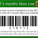 25% off 3 Months Xbox Live @ EB Games (in Store Only) - $25.60