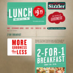 Buy a Sunday Buffet Breakfast, Get 1 Free @ Sizzler ($19.95/Adult)