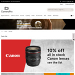 10% off All in Stock Lenses, Drones, Filters and Memory Cards at CameraPro