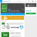 Xbox Live Gold 12 Month Subscription (VPN Required) - US$40.55 (AU$51.70) @ GamesDeal