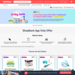 eBay Australia - 100% Cashback on 12 Selected Baby Items (+ Delivery or Free C&C at Baby Bunting) @ ShopBack (via App Only)