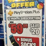 12 Month PlayStation Plus Subscription $59.95 + Free Socks @ EB Games