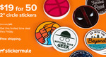 """50x 2"""" Circle Stickers - $12.54 (Was $77) Delivered @ Sticker Mule"""
