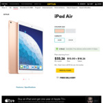 iPad Air 3 Cellular Gold or Silver, 64GB / 256GB $657.36 / $760.32 Outright @ Optus (In-store - Selected Retail Stores)