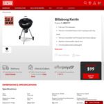 Billabong Kettle BBQ $99 (Was $159) @ Barbeques Galore