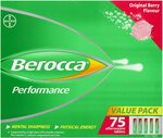 Berocca Energy Vitamin, Original Berry or Orange - 75 Effervescent Tablets $19.99 (or $17.99 with S&S Delivered) @ Amazon AU