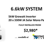 [NSW, QLD] 6.6kW JA Solar 330W Solar Panels + 5kW Growatt Inverter Fully Installed from $2,980 @ Pristine Solar