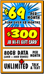 Telstra $69/80GB Per Month for 12 Months Plan + Bonus $400 Gift Card (New & Port-in Customers) @ JB Hi-Fi (in-Store Only)