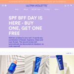 SPF BFF Day: Buy 1 Get 1 Free Sunscreen From $35 for 2 (Free Shipping with $50) @ Ultra Violette