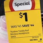 [VIC] Audeeo Totally Rad Kids Wireless Headphone $1 (Was $45) @ Coles Southern Cross