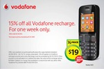 15% off All Vodafone Recharge for One Week Only at Woolworths