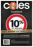 10% off for Purchases over $50 at Coles at Westfield Southland [VIC] with Discount Coupon