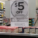 $5 off $50+ Spend at Woolworths Moonah, New Town and Hobart City (Tasmania)